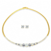 Gold Plated with Cubic Zirconia Stones & Grey Pearls Necklace & Earring Set